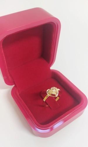 Anel Coração Galeria Em Ouro 18k 750