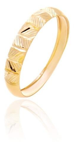 Anel De Ouro 18k Aparador Diamantado Feminino
