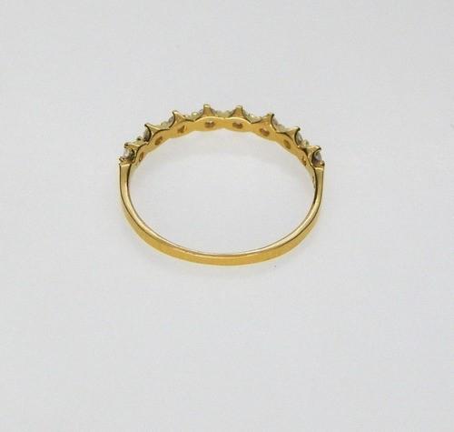 Anel De Ouro 18k Cravejado De Zircônia Meia Aliança Feminino
