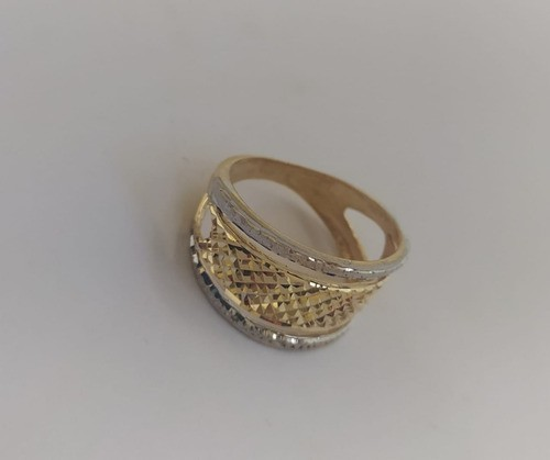 Anel Diamantado Ouro Amarelo E Branco Em Ouro 18 K 750