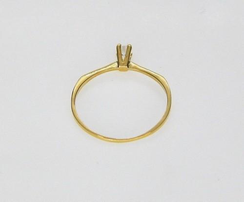 Anel Em Ouro 18k Solitário Com Pedra Zircônia Feminino