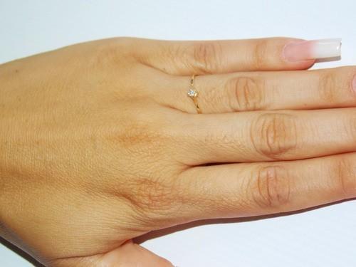 Anel Em Ouro 18k Solitário Feminino Com Pedra Zircônia