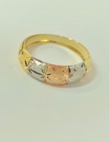 Anel Estampado Tricolor Em Ouro 18k Largura 6mm