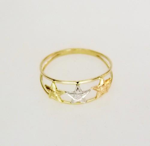 Anel Estrelas Tricolores Em Ouro 18k