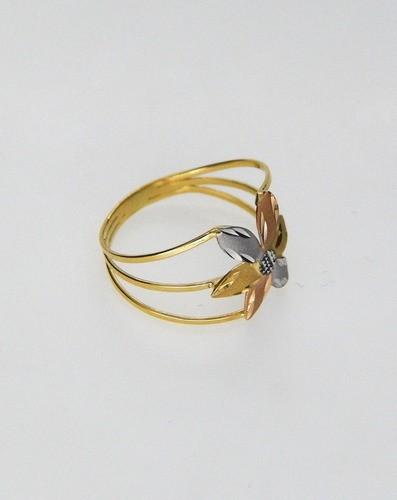 Anel Flor Tricolor Solitário Ouro 18k