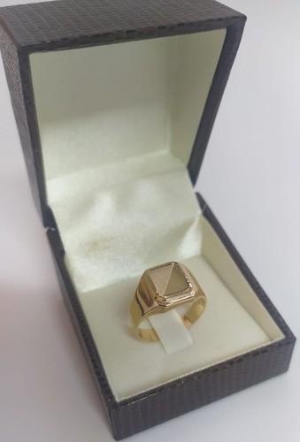 Anel Masculino Quadrado Em Ouro 18k 750
