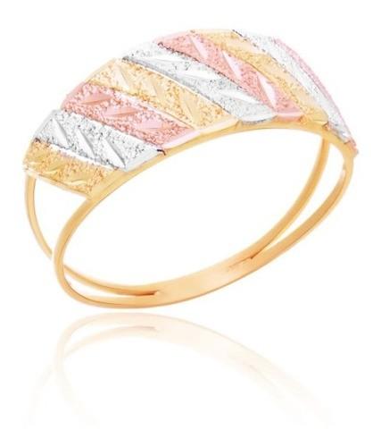 Anel Tricolor Estampado Em Ouro 18k Feminino