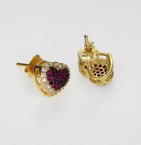 Brinco Feminino Coração Vermelho Ouro 18k E Pedra Zircônia
