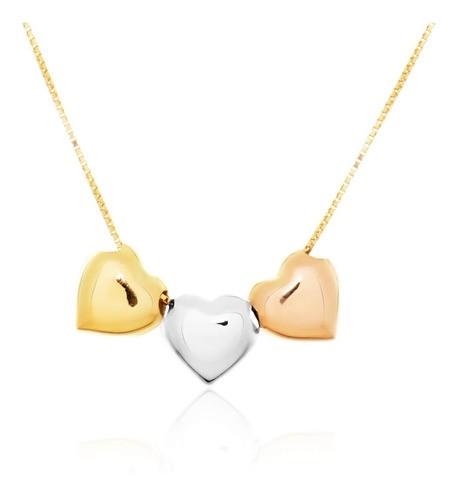 Colar 3 Corações Em Ouro 18k