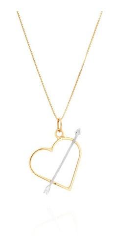 Colar Coração  Cupido Em Ouro 18k 750