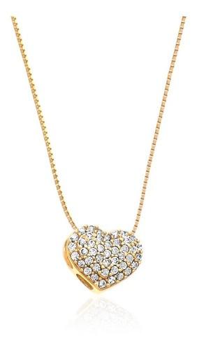 Colar  Coração Vermelho Ouro 18k E Pedra Zircônia