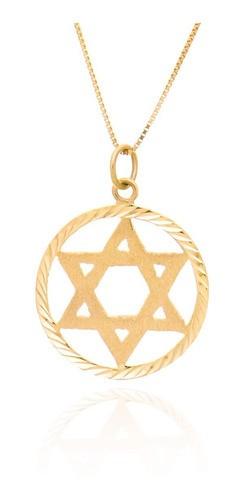 Colar Estrela De Davi Em Ouro 18k Corrente 45 Cm