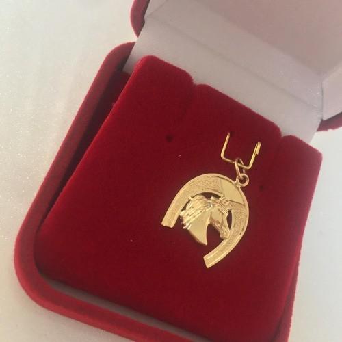 Colar Pingente Ferradura Cavalo Em Ouro 18k