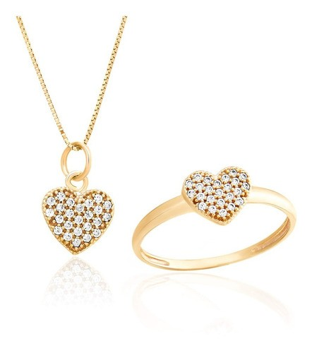Conjunto Anel E Colar Coração   Em Ouro  18k 750