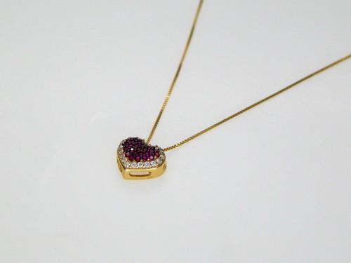 Conjunto Feminino Jóias Coração Vermelho Ouro 18k 04 Peças