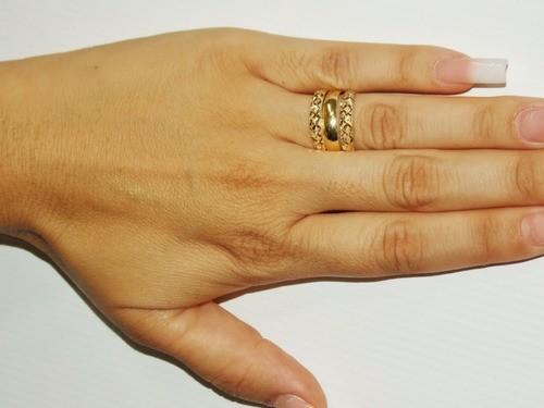 Kit 1x Anel De Ouro 18k Par De Aparadores Diamantados Feminino