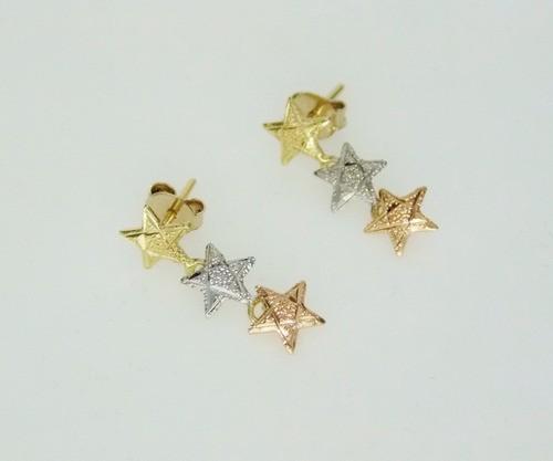 Par De Brincos 3 Estrelas Tricolores Em Ouro 18k Feminino