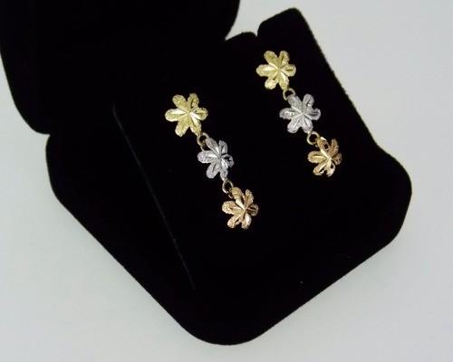 Par De Brincos 3 Flores Tricolores Em Ouro 18k