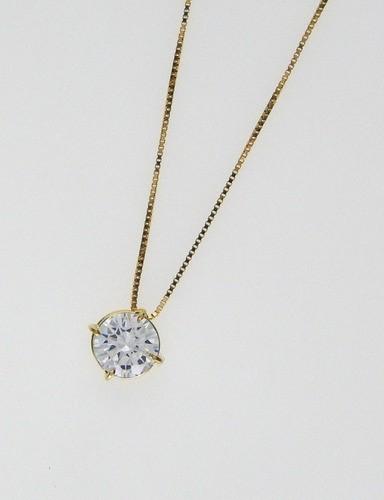 Pingente Ponto De Luz E Corrente Em Ouro 18k Com Zircônio