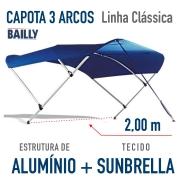 Capota Náutica BAILLY Linha Clássica  3 Arcos com 2,00 m de largura