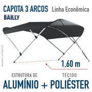 Capota Náutica BAILLY Linha econômica  3 Arcos com 1,60 m de largura