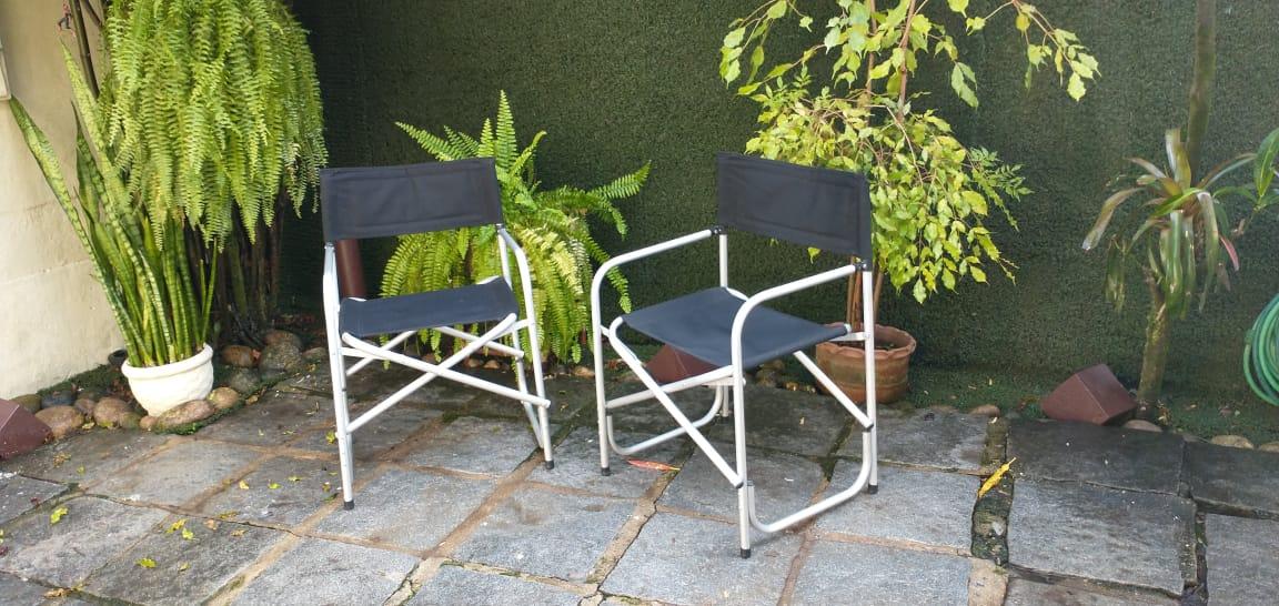 Cadeira tipo diretor BAILLY em alumínio e lona acrílica