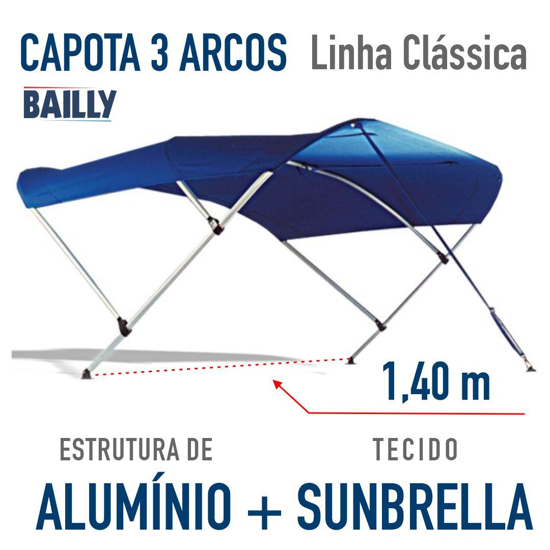 Capota Náutica BAILLY Linha Clássica 3 arcos com 1,40 m de largura