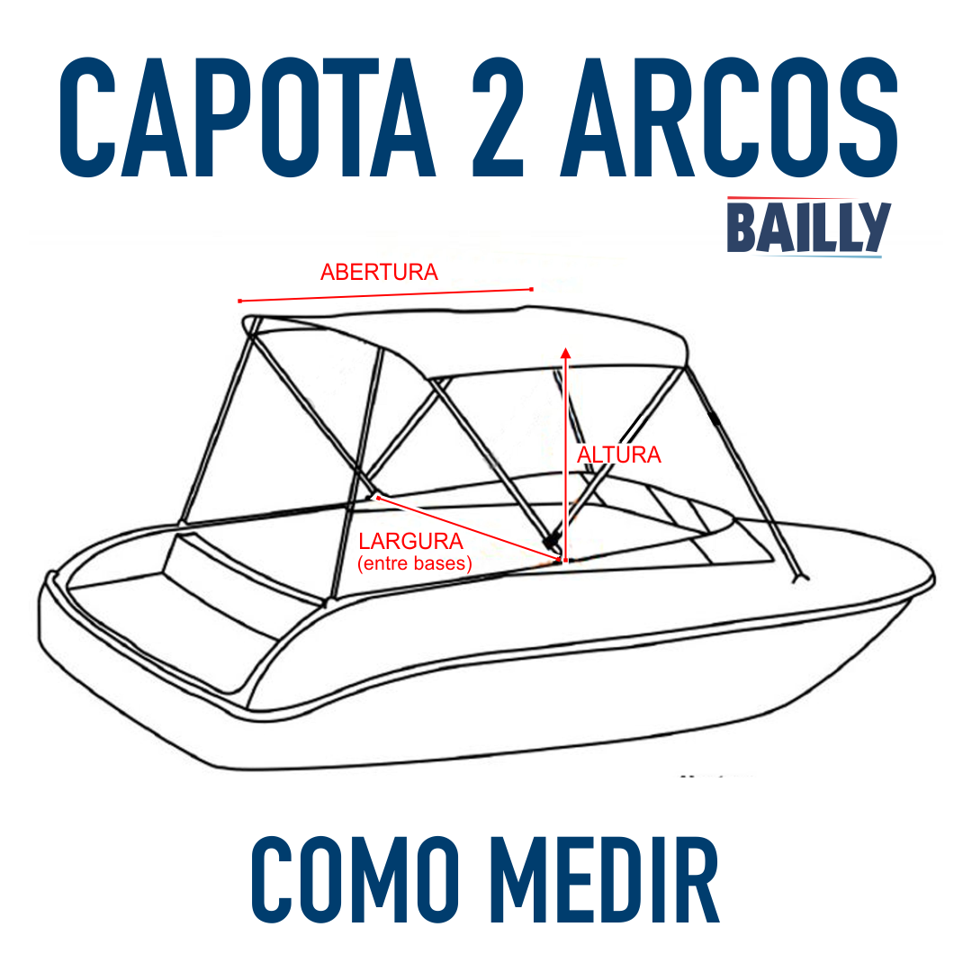 Capota Náutica BAILLY Linha econômica 2 Arcos com 1,30 m de largura