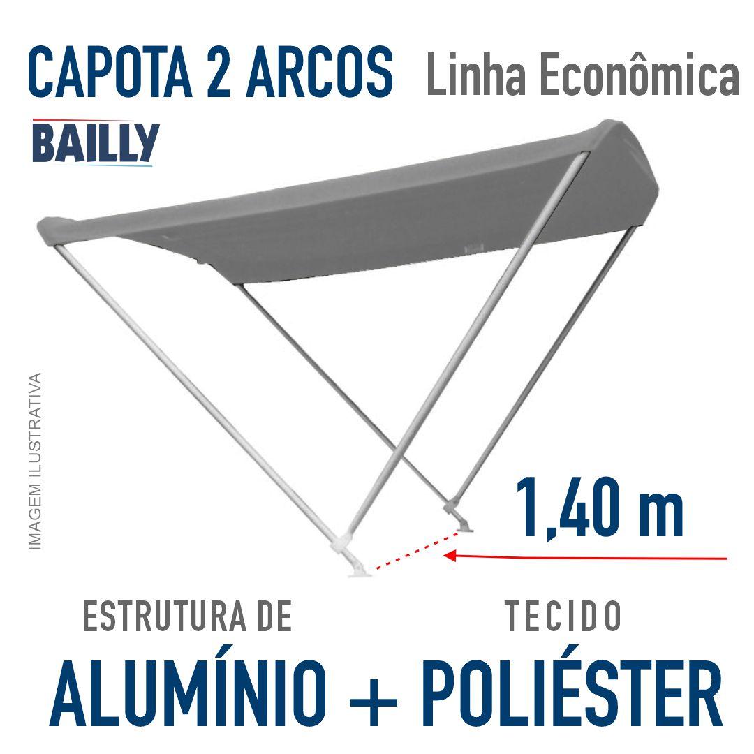 Capota Náutica BAILLY Linha econômica  2 Arcos com 1,40 m de largura