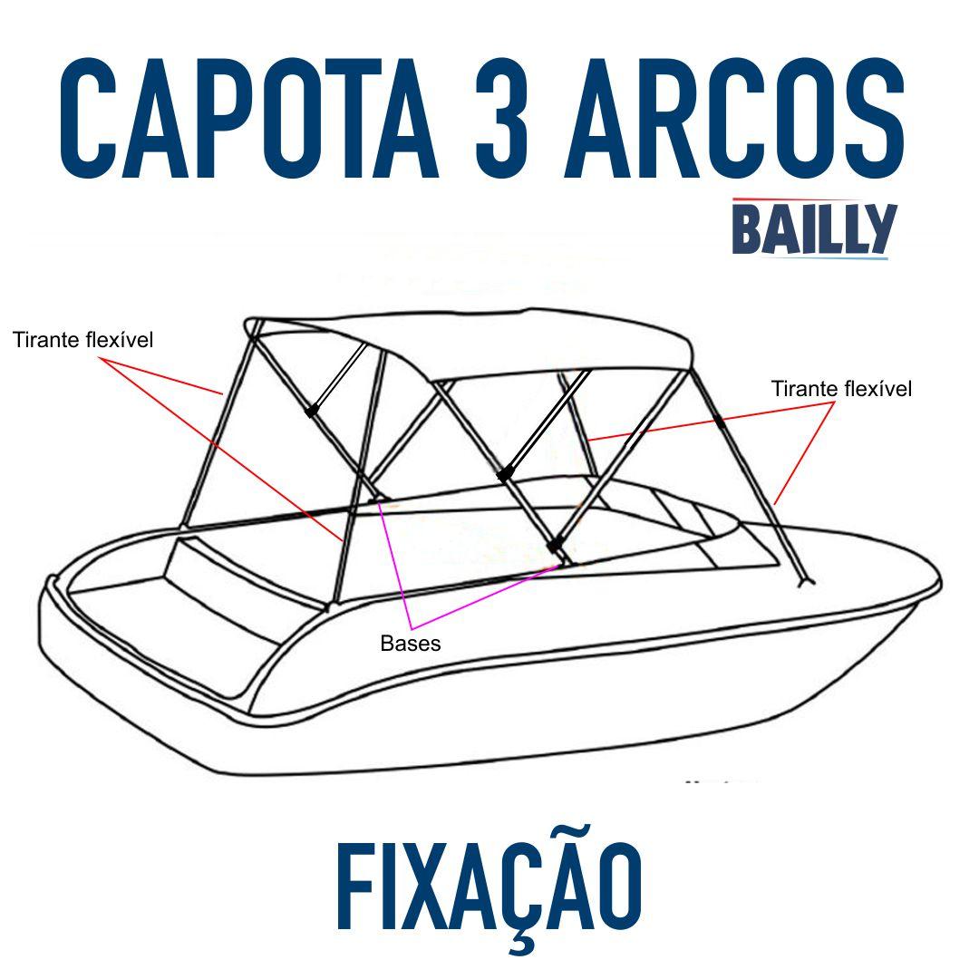 Capota Náutica BAILLY Linha econômica  3 Arcos com 1,40 m de largura