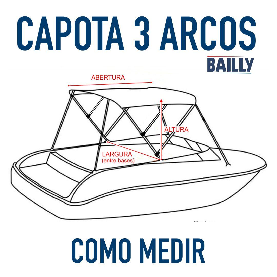 Capota Náutica BAILLY Linha econômica  3 Arcos com 1,50 m de largura