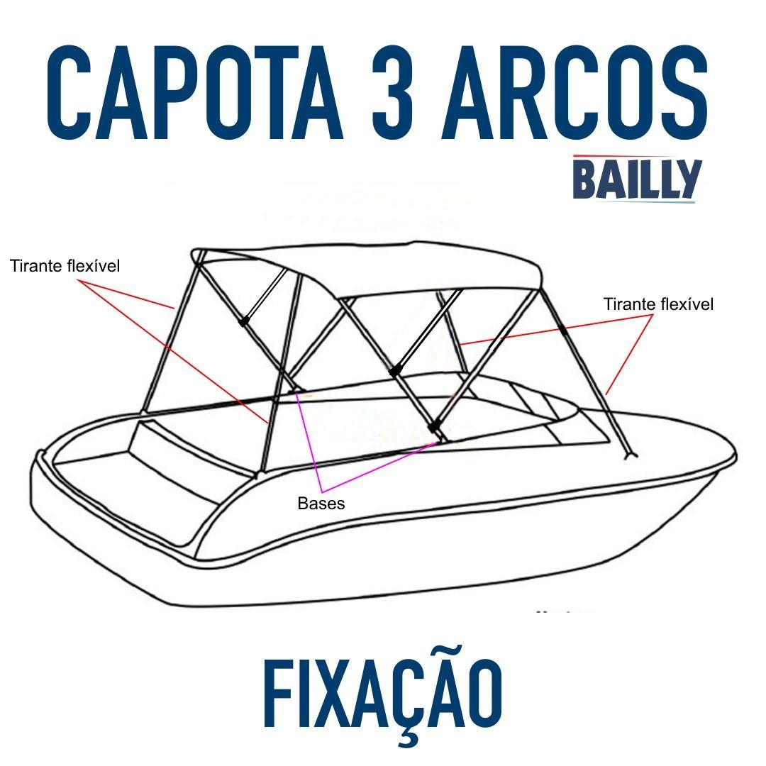 Capota Náutica BAILLY – Linha econômica de 3 arcos