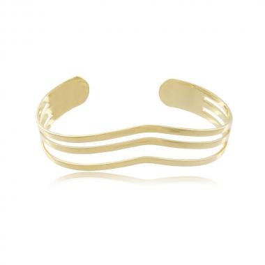 Bracelete Aro Vazado Duplo - Coleção Essenza Elementar - Mina de Fé Joias - Banhado a Ouro 18k