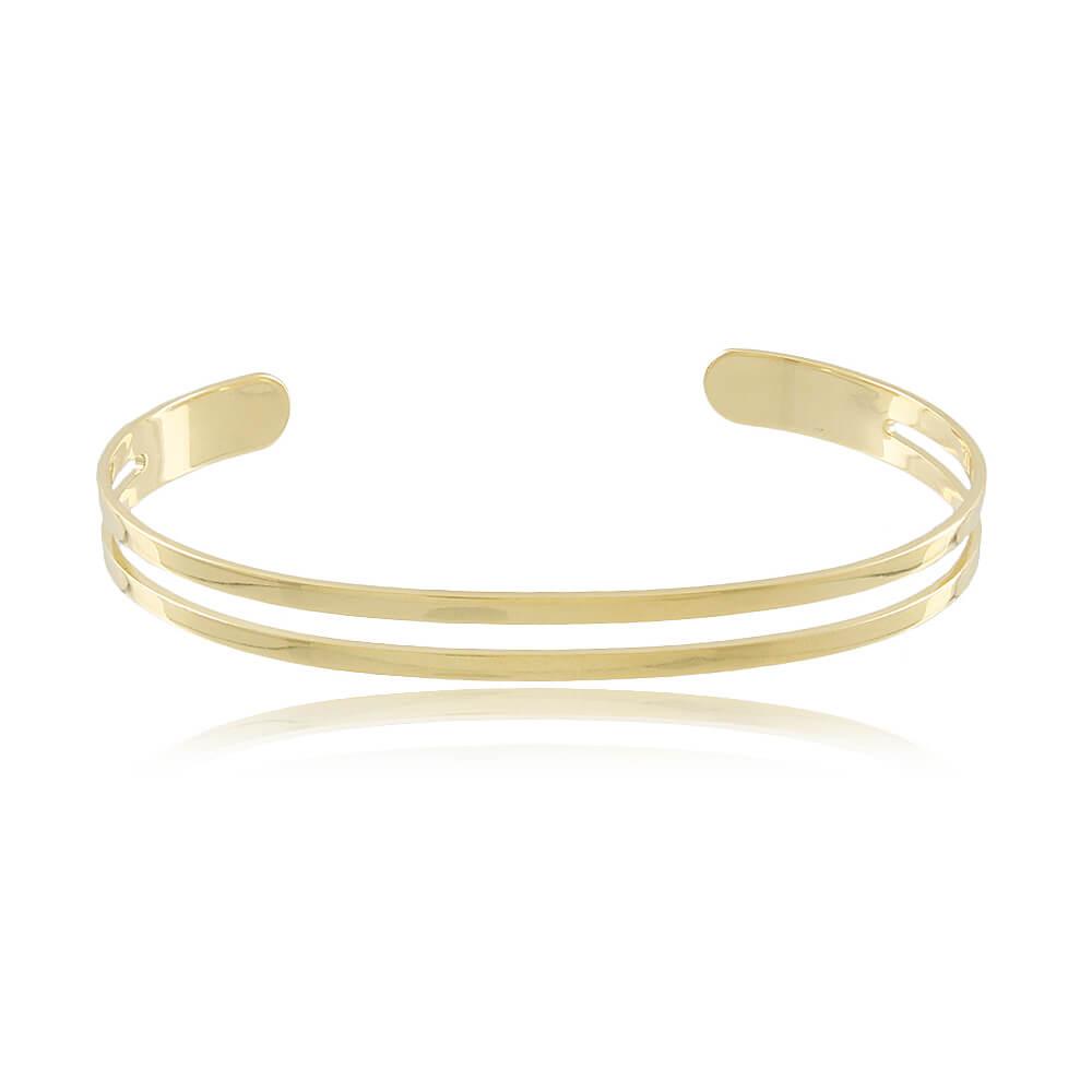 Bracelete Aro Vazado - Coleção Essenza Elementar - Mina de Fé Joias - Banhado a Ouro 18k