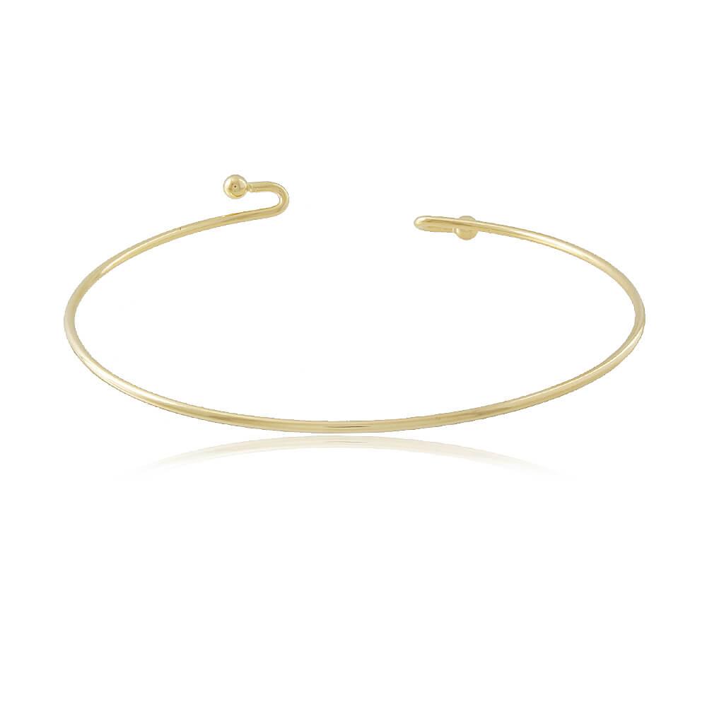 Bracelete Liso - Coleção Essenza Elementar - Mina de Fé Joias - Banhado a Ouro 18k