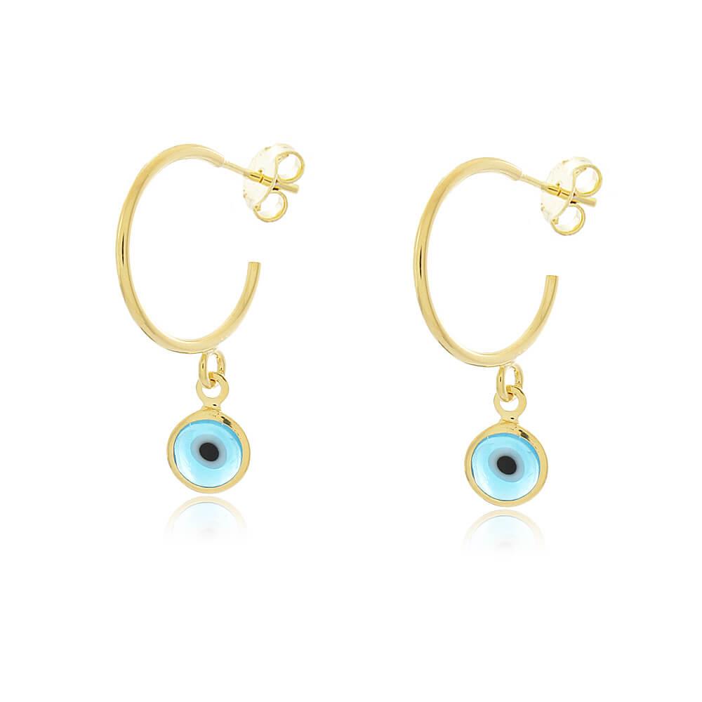 Brinco Argola Olho Grego Azul Claro - Coleção Nazar - Mina de Fé Joias - Banhado a Ouro 18k
