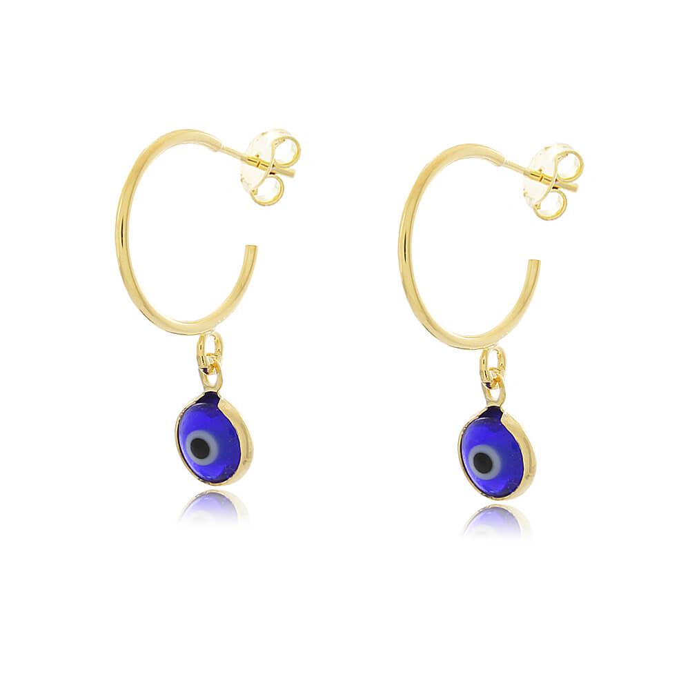 Brinco Argola Olho Grego Azul Escuro - Coleção Nazar - Mina de Fé Joias - Banhado a Ouro 18k