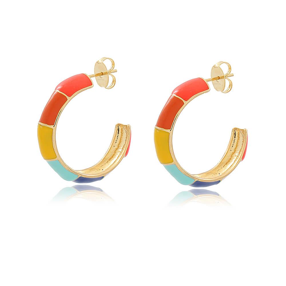 Brinco Argola Rainbow - Coleção Essenza Cores - Mina de Fé Joias - Banhado a Ouro 18k