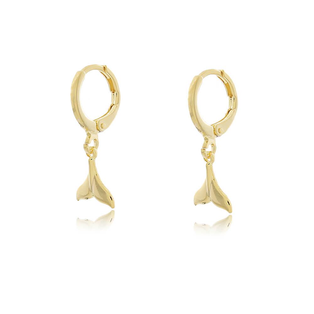 Brinco Argola Tranquinha Cauda de Sereia Lisa  - Coleção Sirena - Mina de Fé Joias - Banhado a Ouro 18k