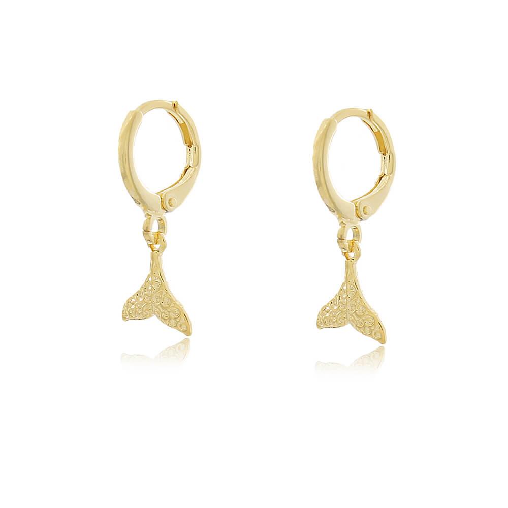 Brinco Argolinha Cauda de Sereia Texturizada  - Coleção Sirena - Mina de Fé Joias - Banhado a Ouro 18k