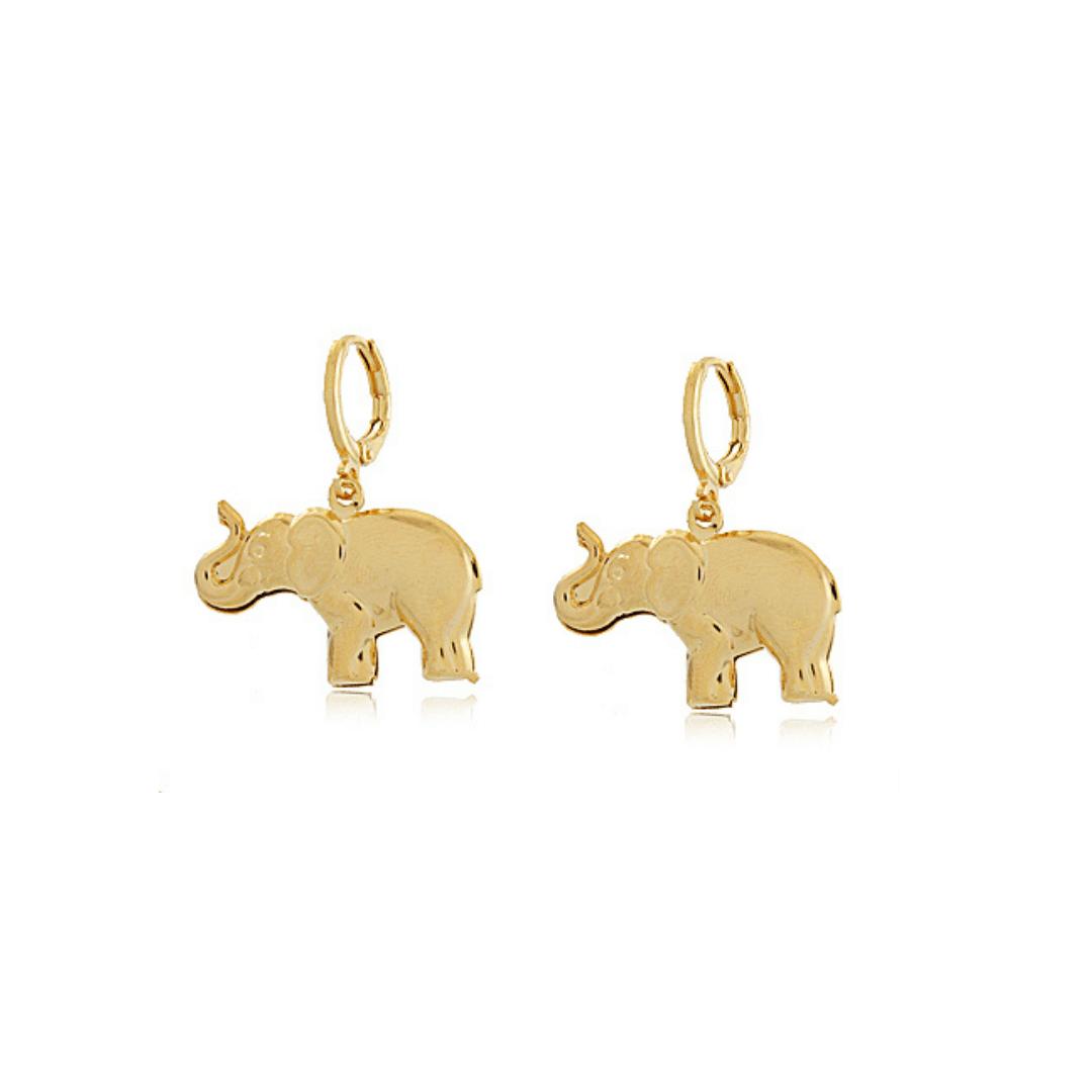 Brinco Argolinha Elefante - Coleção Elephantus - Mina de Fé Joias - Banhado a Ouro 18K