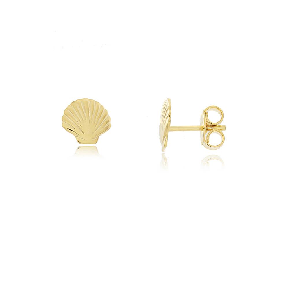 Brinco Concha Aberta - Coleção Conchas - Mina de Fé Joias - Banhado a Ouro 18k