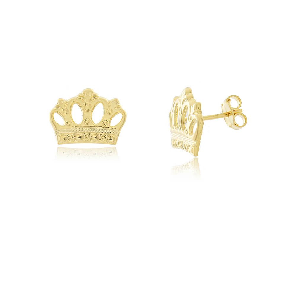 Brinco Coroa Vazada - Coleção Queen - Mina de Fé Joias - Banhado a Ouro 18k