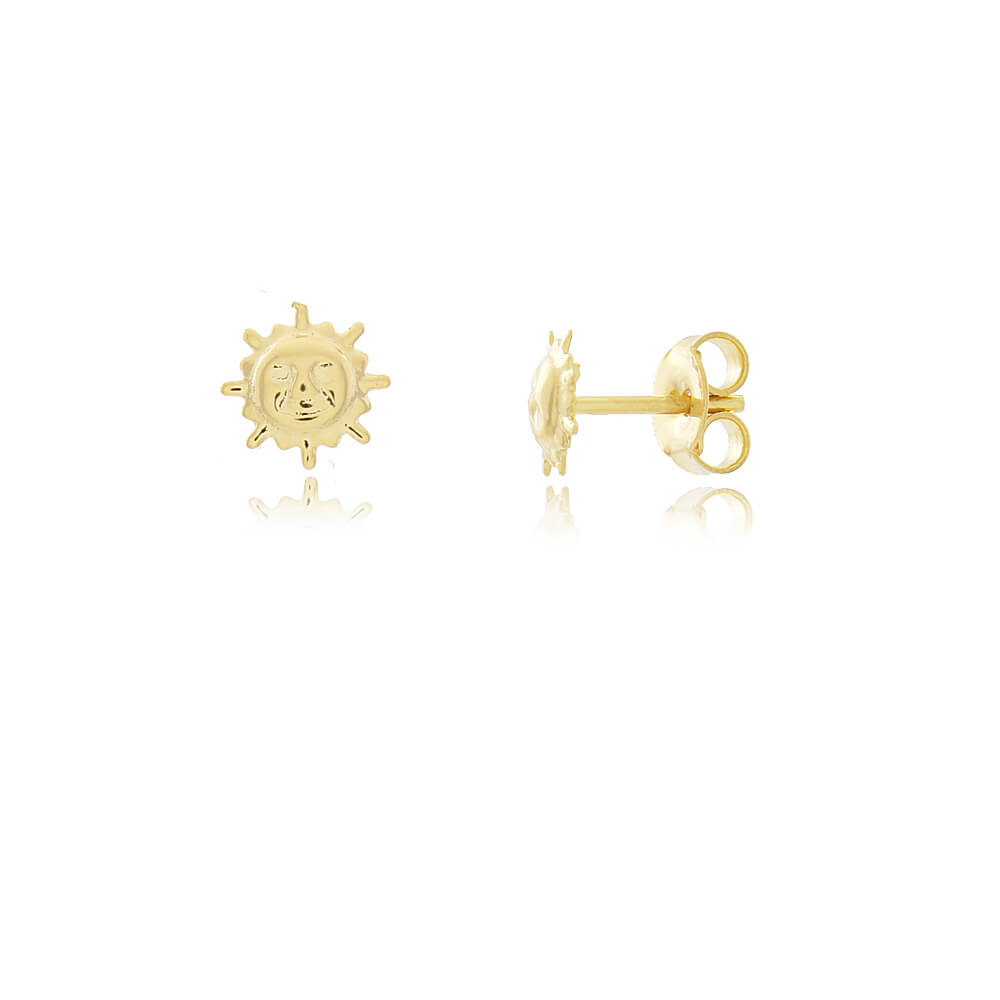Brinco Sol - Mina de Fé Joias - Banhado a Ouro 18k