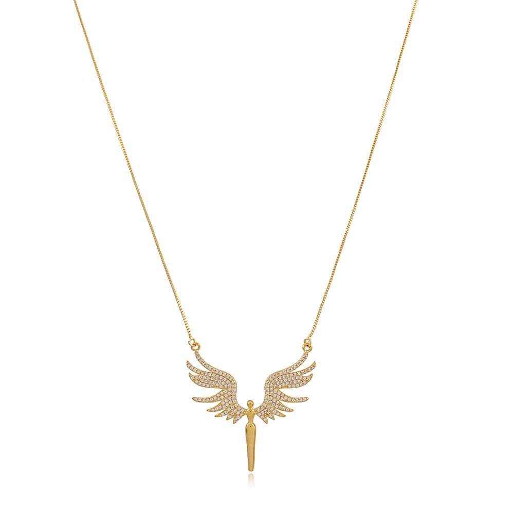 Colar Anjo com Zircônias - Mina de Fé Joias - Banhado a Ouro 18k