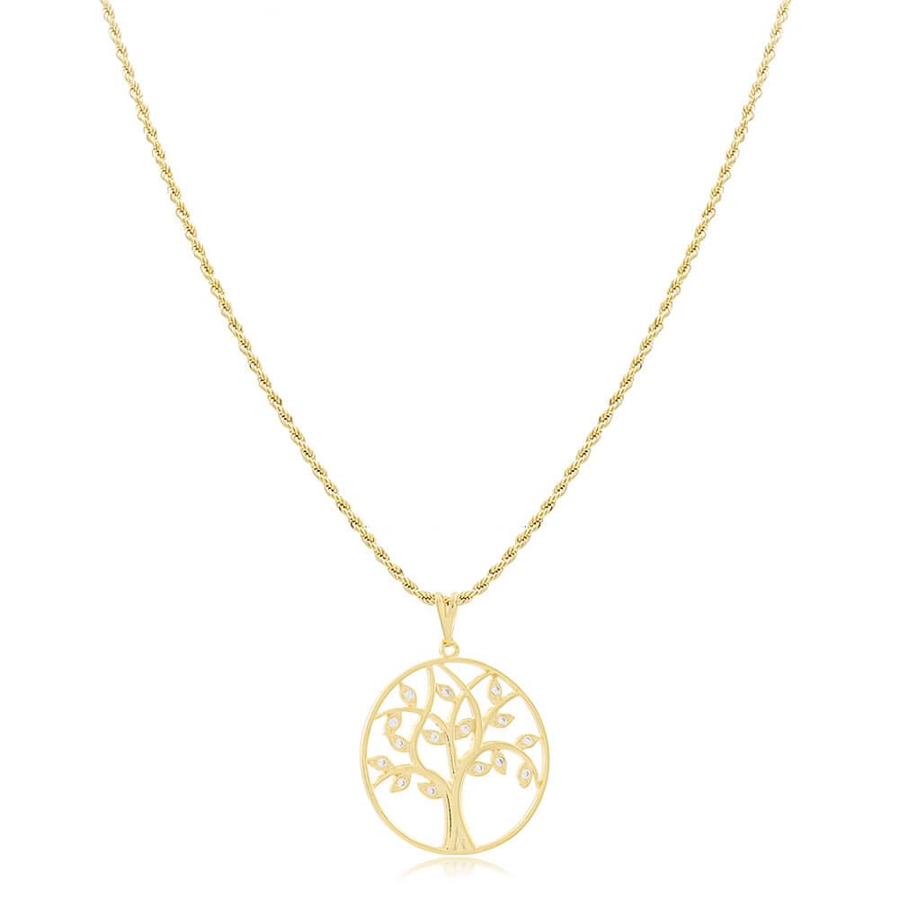 Colar Árvore da Vida com Zircônias - Coleção Tree - Mina de Fé Joias - Banhado a Ouro 18k