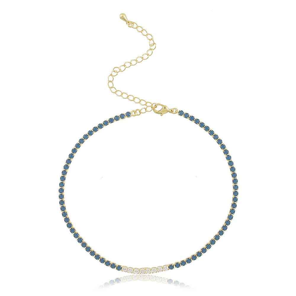 Colar Choker com Zircônias Coloridas - Azul e Branca - Coleção Essenza Cores - Mina de Fé Joias - Banhado a Ouro 18k