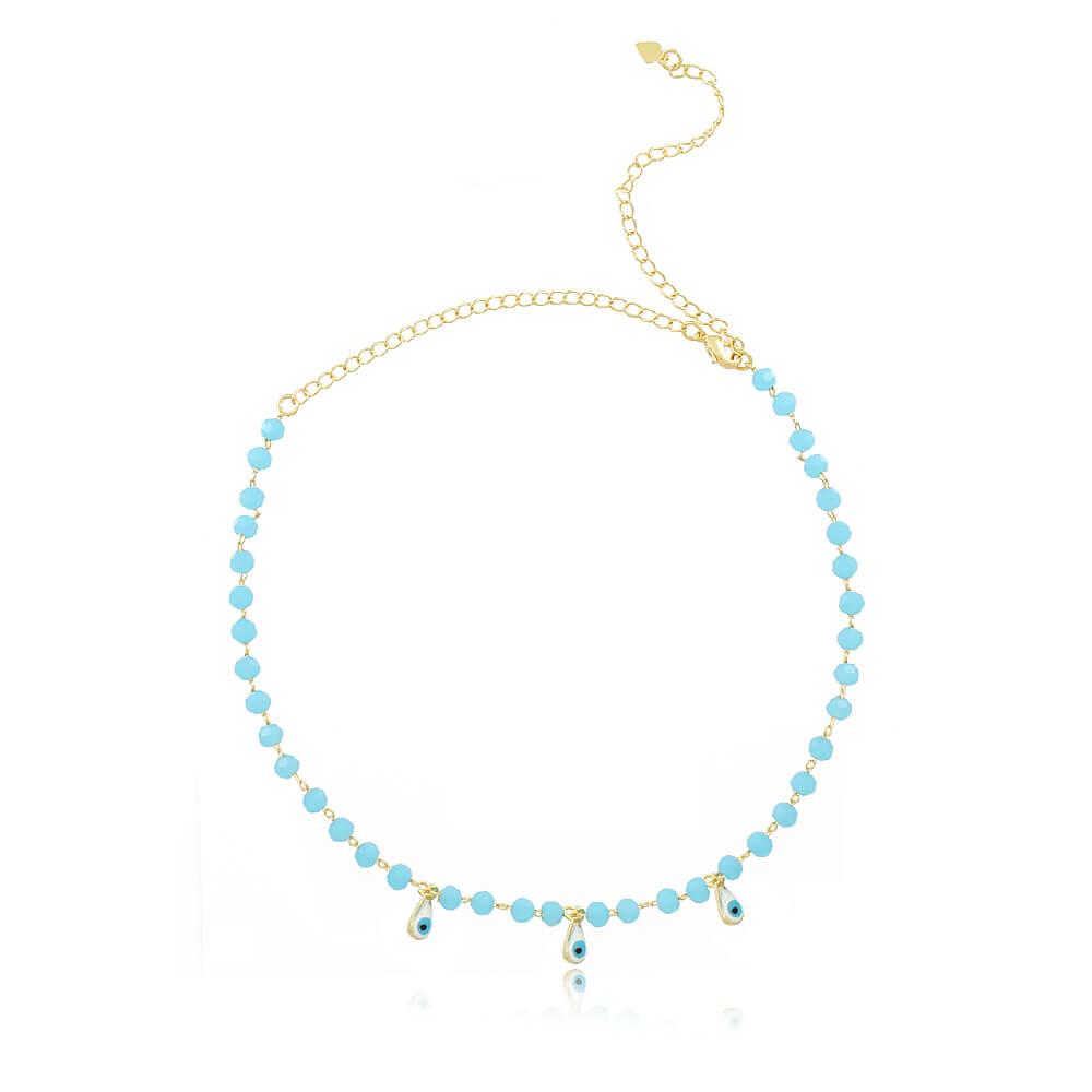 Colar Choker Olho Grego com Pedras / Azul Claro - Coleção Nazar - Mina de Fé Joias - Banhado a Ouro 18k
