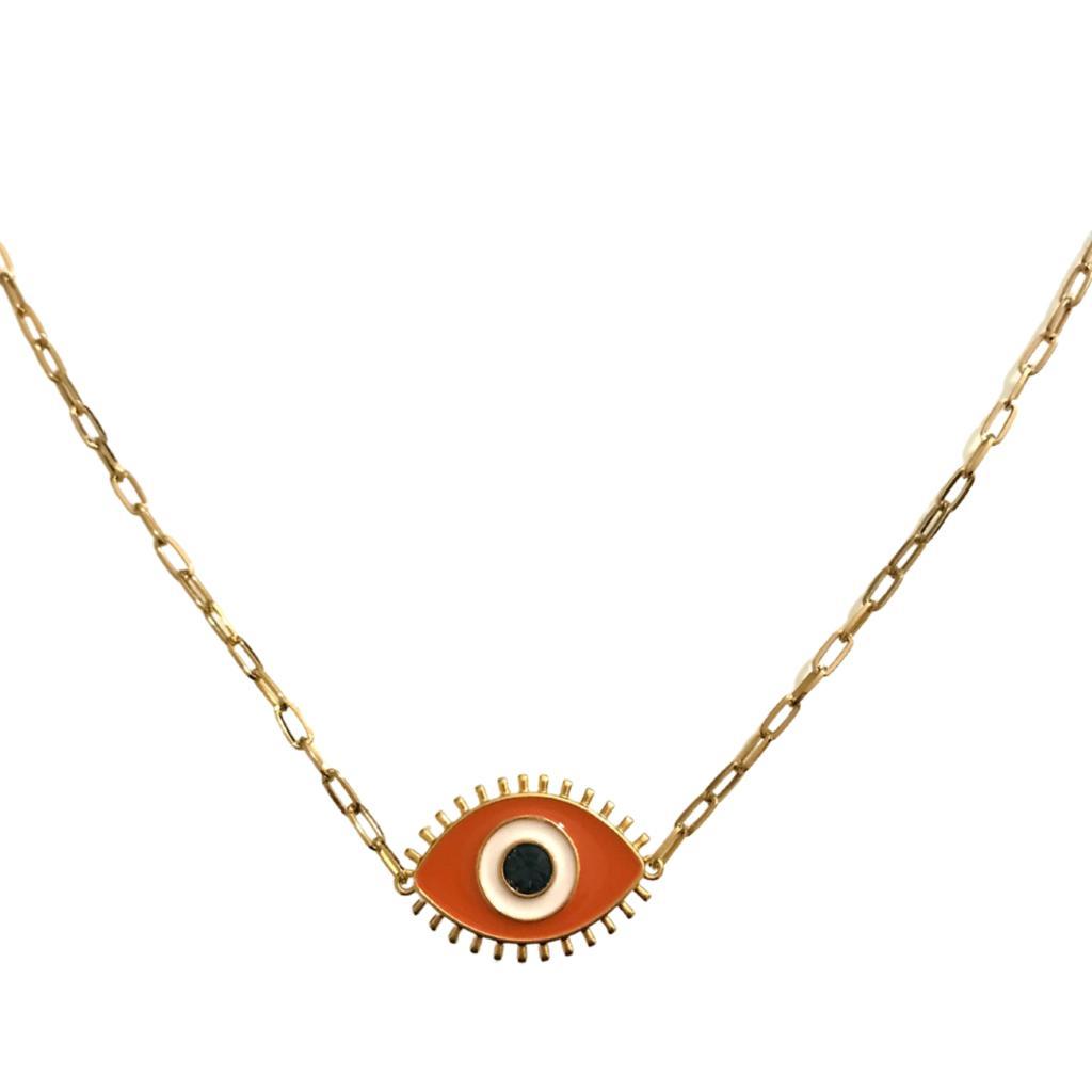 Colar com Pingente Dupla Face Olho Grego - Coleção Nazar - Mina de Fé Jóias - Banhado a Ouro 18k