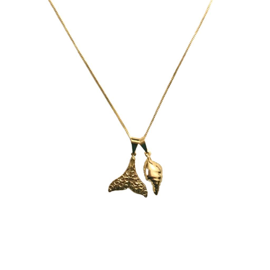 Colar Concha Fechada e Cauda de Sereia Texturizada - Coleções Sirena e Conchas - Mina de Fé Joias - Banhado a Ouro 18k